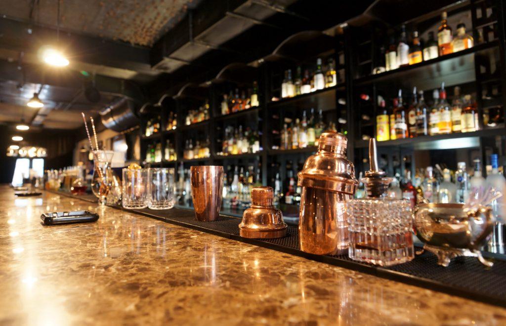 A fully stocked bar with liquor